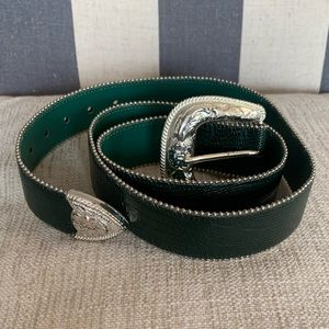Emerald Genuine Leather Belt with Silver Hardware